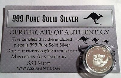 Koala 1/10th Oz 999.0 Pure Solid Silver Coin, 14 to Collect with C.O.A. Invest