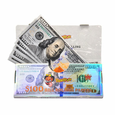 72 PCS $100 Dollar Bill King Size Cigarette Tobacco Rolling Papers Multicolored