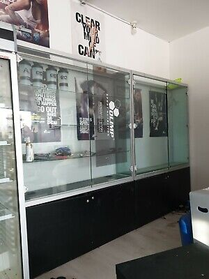 Used retail glass display cabinets x2
