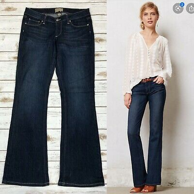 $198 Paige Bundy Womens Jeans Wide Leg Relaxed Flare Low Rise Dark 24 27 Petite