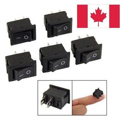 5pcs Rocker Switch 2-Pin On/Off Small SPST Snap 3A 250V AC/DC. Switches. Canada