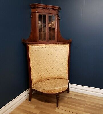 Rare Louis XVI Antique French Walnut Corner Chair/ Chaise Lounge, Circa 1880