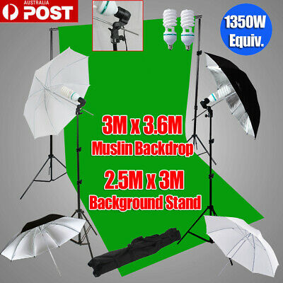 1350W Studio Continuous Umbrella Lighting Photo Green Muslin Backdrop Stand Kit