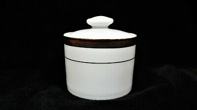 1997 Gold Porcelain Sakura Inc Dinnerware Sugar Bowl w/Lid Porcelain White ~ 24K