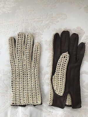 Vintage Brown Leather Crochet Woven Womens Driving Gloves SZ Medium