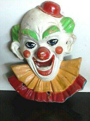 Original 1960s Massive 68cm Circus Clown Face Fibreglass Hand Painted Wall Art