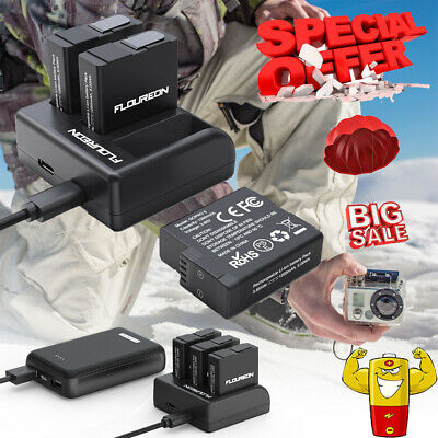 For GoPro Hero 5/6/7 Black 2018 Battery Charger 3Channel Replacement Batteries