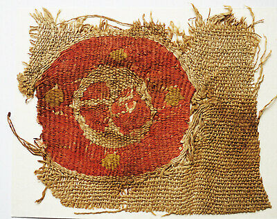 Ancient Coptic Textile Fragment - Emblem, Circle Pattern, Egypt, Christian Arts