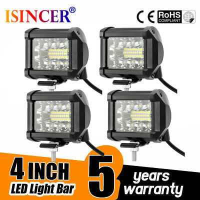 4x 4inch 200W CREE LED Work Light Bar Pods Flush Mount Combo Driving Lamp 12V~