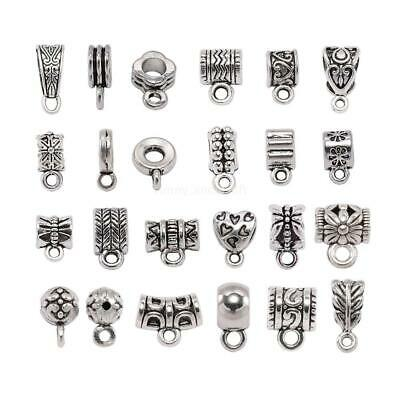 Pendant Clasp DIY Jewelry necklace Antique Silver Connector Clip Bail Beads