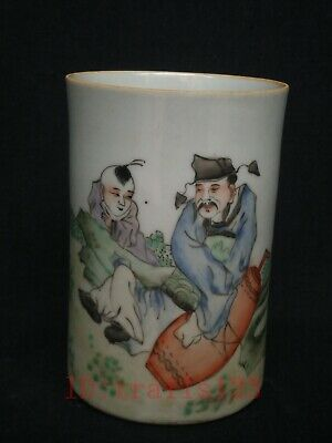 Collection Ancient China Porcelain Painting Maple Boy and Old People Brush Pot
