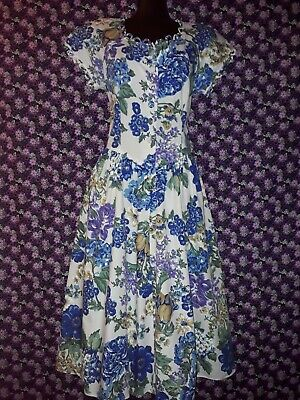Genuine Vintage 80s Cotton Blue Floral Dress Approx Size 12-14