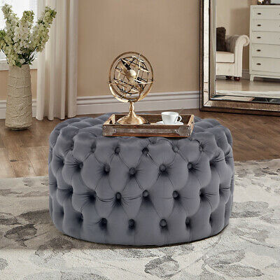 Luxury Grey Buttoned Ottomans Square//Round Plush Velvet Coffee Tables Footstools