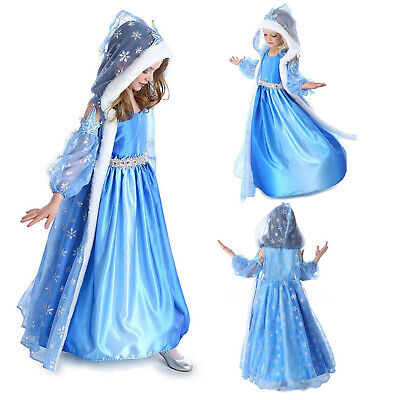 Girls Elsa Fancy Dress Up Fairytale Princess Cosplay Party Costume Prom Outfit