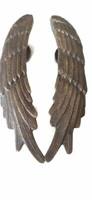 """used  small ANGEL WINGS 9.1/2 """" hollow soild 100% brass SILVER aged door pull"""
