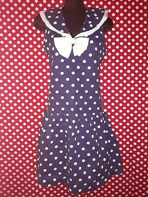 Genuine Vintage 80s Blue and White Spot Dress with Bow.