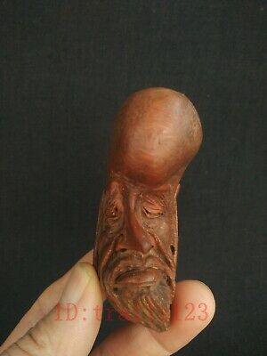Collection China Hand Carving Bodhidharma Head Statue Bamboo Ancient Decoration