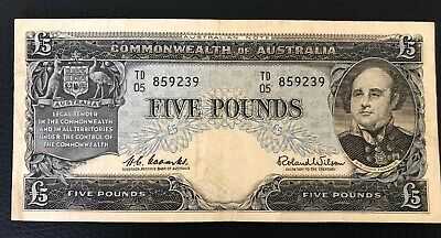 1960 Australia Coombs/Wilson $5 Five Pounds banknote