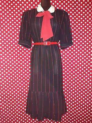 Genuine Vintage 80s French Navy Polyester Dress with Red Neck Tie, Dropped Waist