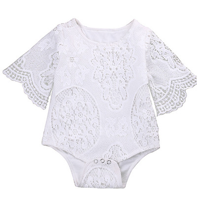 Baby Girl White Ruffles Sleeve Romper Infant Lace Jumpsuit Outfit