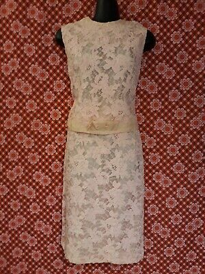 Genuine Vintage 60s Pale Pink Ribbon Lace Top and Skirt Suit Size SW Approx 10