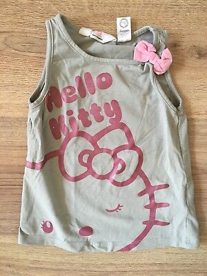 Hello kitty army green pink Vest Top Girls 2-4 Years H&m Summer