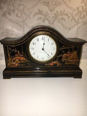 French Chinoiserie Antique Mantel Clock  Hand Painted      Possibly Japy Freres