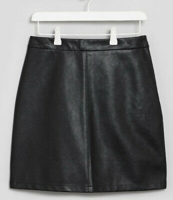 Teen Girls Black BNWT faux leather pu  skirt Candy Couture Matalan (QD)