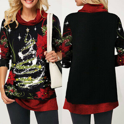 Women Ladies Christmas Tops Casual Loose Long Sleeve T Shirt Blouse Jumper Size