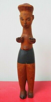 Fine Old West African Nigerian Tribal Art Painted Ibibio Doll With Unusual Hat