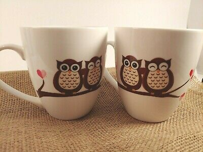 """Pfaltzgraff Set of TWO Mugs """" Owl Love You Forever """" Large Mug Cup Pair of Owls"""