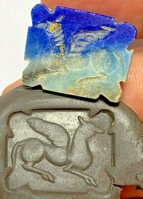 Ancient Greek Lapis Lazuli Stone Intaglio Picasso Seal Bead Pendant 5.8gr 27.7mm