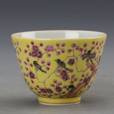 "2.7"" Chinese Porcelain tongzhi yellow famille rose Plum blossom Magpie Teacup"