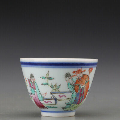 "2.7"" Porcelain Chinese old tongzhi marked famille rose Hand character Teacup"