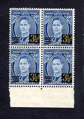 1941 KGVI ***MUH*** 3.5d Surcharged ( OFF-SET ) on 3d BLUE - BLOCK of 4 - SUPERB