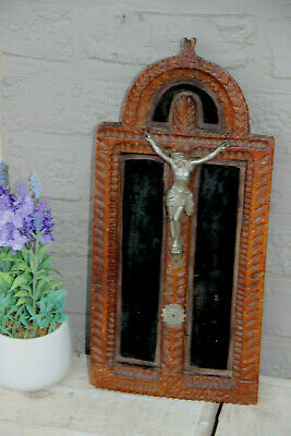 Antique Religious french wood carved crucifix on velvet metal christ