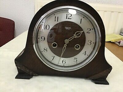 Vintage 1950s smiths enfield mechanical mantel clock with key/spare or repair
