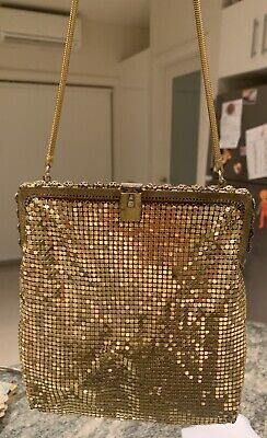 Vintage Gold Mesh Evening Handbag With Gold Filigree Trimming