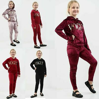 GIRLS KIDS VELVET HOODED VOGUE TRACKSUIT  TOP & BOTTOM LOUNGE WEAR Co-Ord Set
