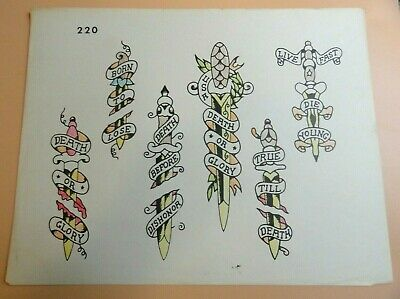 Vintage RARE Spaulding & Rogers Tattoo Flash Sheet #220 Death Before Dishonor
