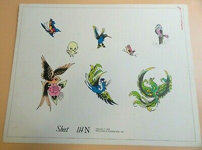 Vintage RARE 1978 Spaulding & Rogers Tattoo Flash Sheet #114N Birds The Fly