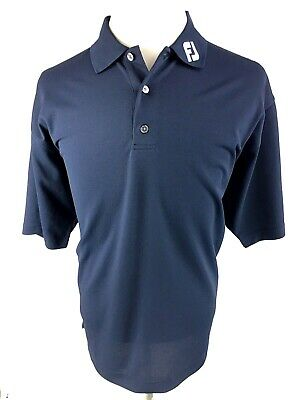FJ Footjoy Prodry Pique Mens Polo Shirt L Large Navy Blue Golf Short Sleeve