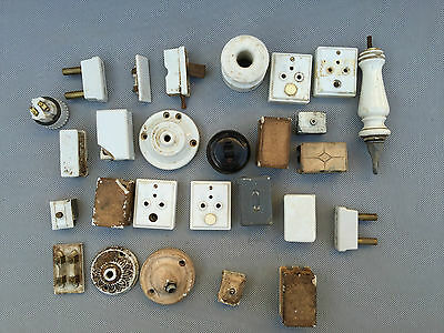 Set of Various Parts Electric Porcelain Vintage French Antique Switches