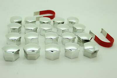 20x SILVER Universal Wheel Nut Covers( 17mm ) Hex with free Tyre Valve Caps