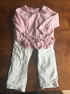 Girls Gap White Cord Jeans Trousers And Gap Pink Top Age 2