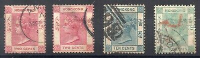 Hong Kong - 1880 Small Group of QV issues Sg 28, 32, 37 and 39a Used - Cat £137