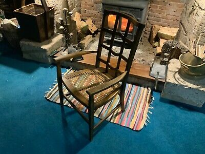 Arts and Crafts Folk Cotswold Oak Lattice back elbow arm chair Very Rare