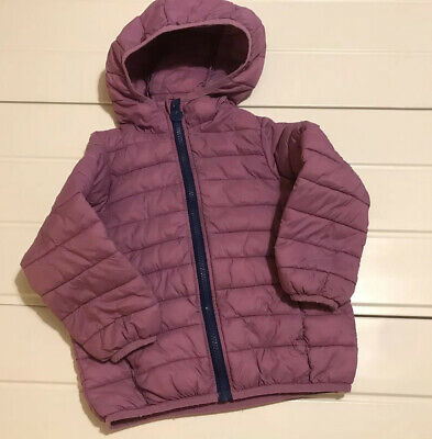 Joules Girls Age 3 Years Coat Jacket Hooded  Zip Up Soft Quilted Mauve Kinnaird