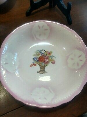 Bavarian Germany Fruit Bowl, Serving Bowl Hand Painted Pink Basket  of Flowers