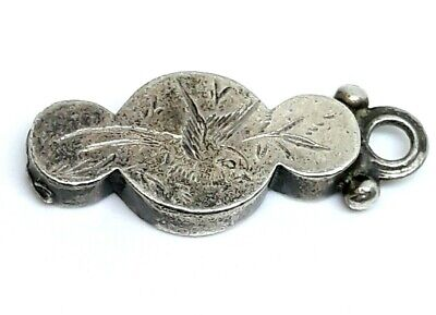 Antique Victorian Sterling Silver Ornate Hand Etched Sparrow Bird Fob Charm